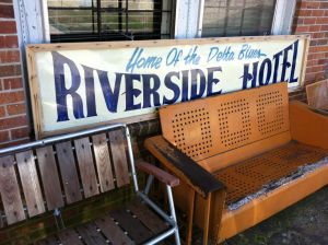 Chairs along the front of the Riverside Hotel